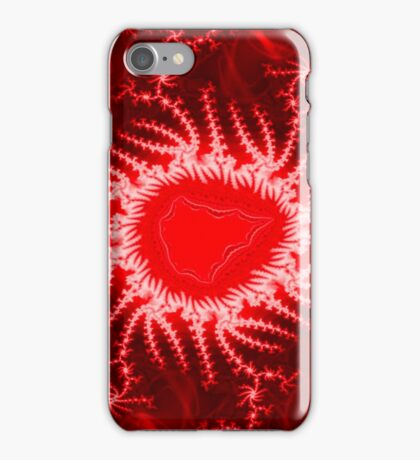 Red Energy Fractal Pattern iPhone Case/Skin