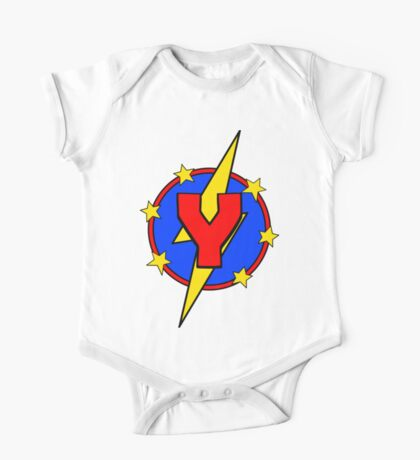 My Cute Little Super Hero - Letter Y One Piece - Short Sleeve