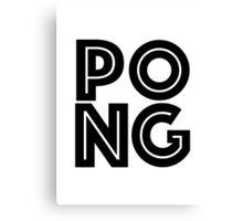 Pong Square Black Canvas Print