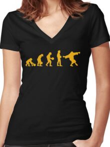 The Big Lebowski evolution yellow Women's Fitted V-Neck T-Shirt