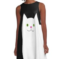 Cute White Kitty Cat A-Line Dress