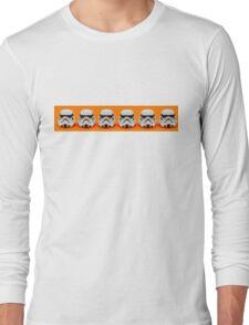 Lego Storm Troopers on orange Long Sleeve T-Shirt
