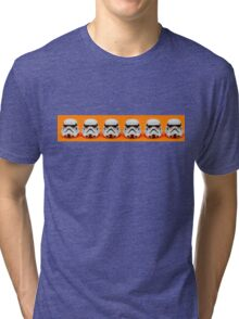 Lego Storm Troopers on orange Tri-blend T-Shirt