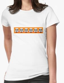 Lego Storm Troopers on orange Womens Fitted T-Shirt