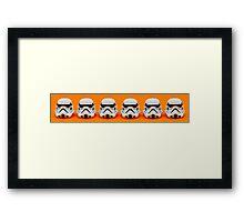 Lego Storm Troopers on orange Framed Print