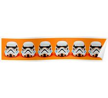 Lego Storm Troopers on orange Poster