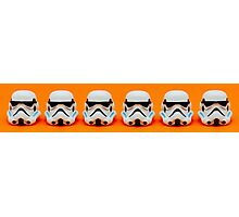 Lego Storm Troopers on orange Photographic Print