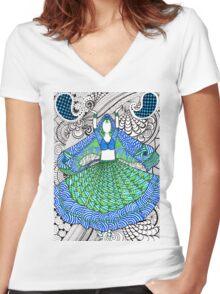 Tangled Bollywood Dancer Women's Fitted V-Neck T-Shirt