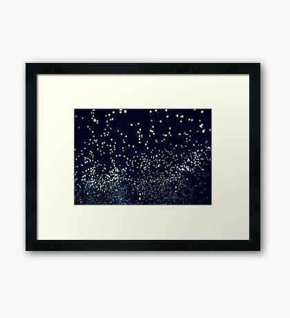 white balloons, black sky Framed Print