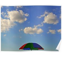 sunscreen, blue sky, clouds Poster
