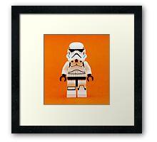 Lego Storm Trooper on Orange Framed Print