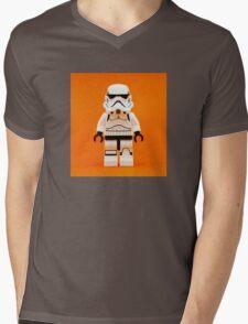 Lego Storm Trooper on Orange Mens V-Neck T-Shirt