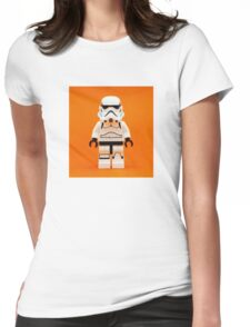 Lego Storm Trooper on Orange Womens Fitted T-Shirt