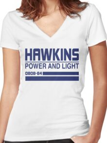Hawkins Power and Light Women's Fitted V-Neck T-Shirt