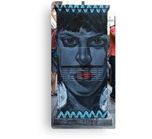 Grey Face-Red Lips Canvas Print