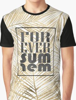 """Modern """"forever summer"""" gold tropical palm leaves design Graphic T-Shirt"""