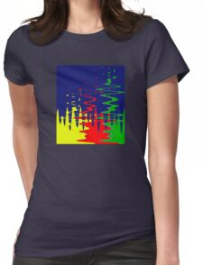 Primary Color Reflections - Blue - Yellow - Red - Green V Womens Fitted T-Shirt