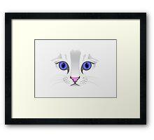 Cute White Kitty Cat Framed Print