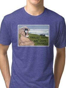 Boston Trolley Vintage Poster Restored Tri-blend T-Shirt