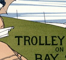 Boston Trolley Vintage Poster Restored Sticker