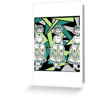 Green Flapper Girl Graphic Greeting Card