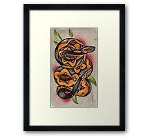 old timey snake tattoo Framed Print