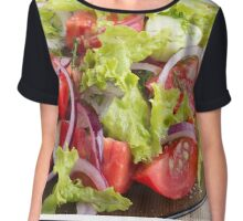 Transparent plate with vegetable salad closeup Chiffon Top