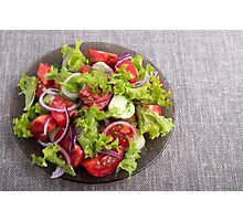 Top view on a plate with fresh salad of raw vegetables Photographic Print