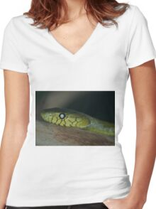 Green Mamba Women's Fitted V-Neck T-Shirt