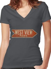 West View Park Sign Women's Fitted V-Neck T-Shirt