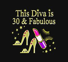 THIS DIVA IS 30 AND FABULOUS GOLD HIGH HEELS Women's Fitted Scoop T-Shirt