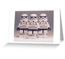 Grey Lego Storm Trooper line up Greeting Card