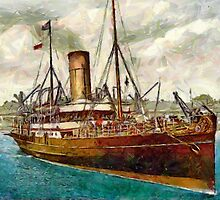 A digital painting of the Steam Yacht Lydia 1890  by Dennis Melling