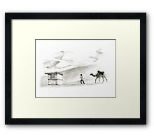 books in the desert Framed Print