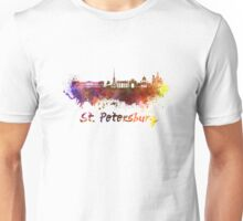 Saint Petersburg skyline in watercolor Unisex T-Shirt
