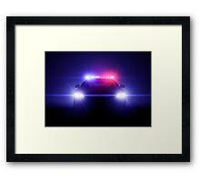 Police Car With Full Blinking Lights  Framed Print