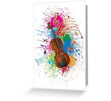 Violin with Bow Paint Splatter Illustration Greeting Card