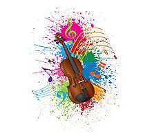 Violin with Bow Paint Splatter Illustration Photographic Print