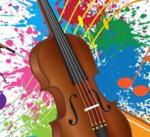 Violin with Bow Paint Splatter Illustration Sticker