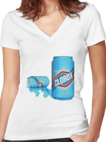 enjoy clorox can Women's Fitted V-Neck T-Shirt