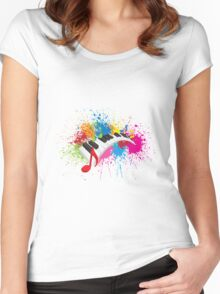 Piano Wavy Keyboard Paint Splatter Abstract Illustration Women's Fitted Scoop T-Shirt