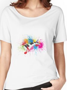 Piano Wavy Keyboard Paint Splatter Abstract Illustration Women's Relaxed Fit T-Shirt