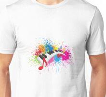 Piano Wavy Keyboard Paint Splatter Abstract Illustration Unisex T-Shirt