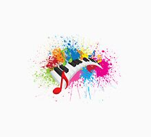 Piano Wavy Keyboard Paint Splatter Abstract Illustration Unisex T-Shirt