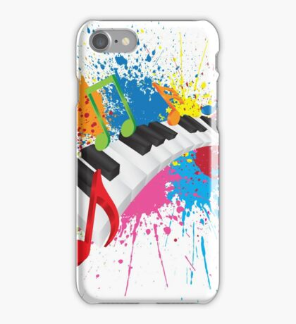 Piano Wavy Keyboard Paint Splatter Abstract Illustration iPhone Case/Skin