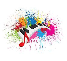Piano Wavy Keyboard Paint Splatter Abstract Illustration Photographic Print