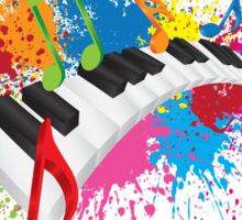 Piano Wavy Keyboard Paint Splatter Abstract Illustration Sticker