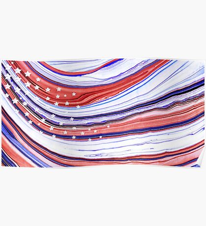 Modern American Flag - Red White And Blue - Sharon Cummings Poster