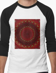 Mandala in red color with green accents Men's Baseball ¾ T-Shirt