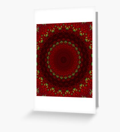 Mandala in red color with green accents Greeting Card